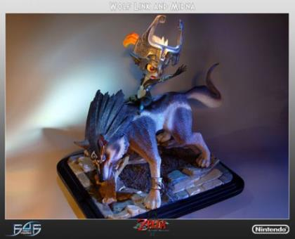 Zelda Twilight Princess: Wolf Link and Midna Poly-Stone Statue